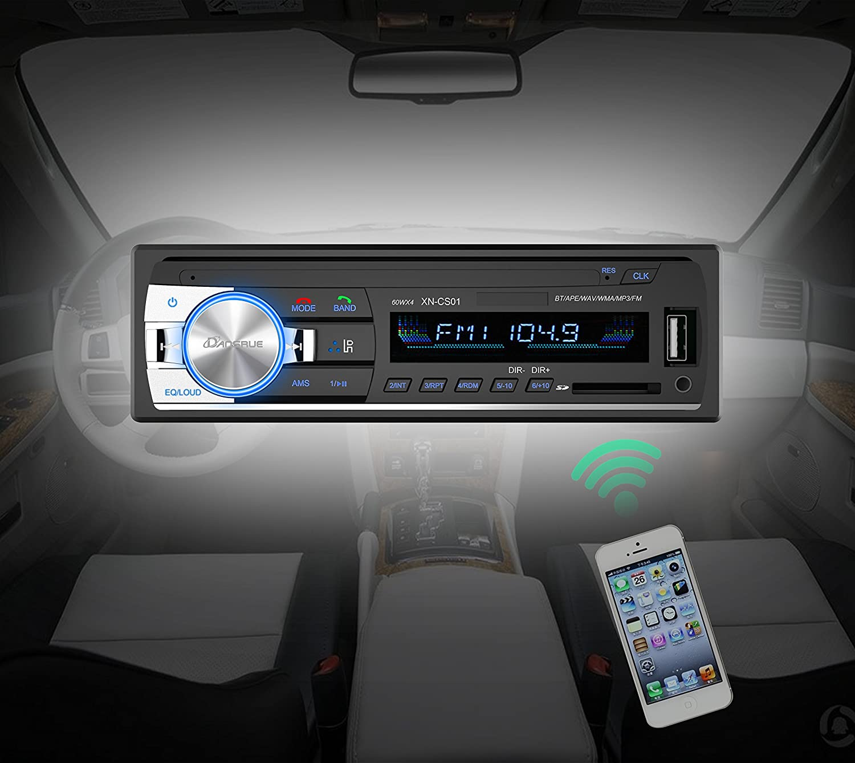 Dansrue Car Stereo Radio Receiver With Bluetooth In Dash Single Din Automobile Interior Lights Fader Mp3 Player Remote Control Fm Usb Sd Card Aux Black B