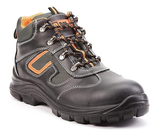 Botas de Seguridad de Cuero para Hombres Botas de Seguridad para hombresPuntera de Acero S3 SRC Calzado de Trabajo al Tobillo de Cuero 6652