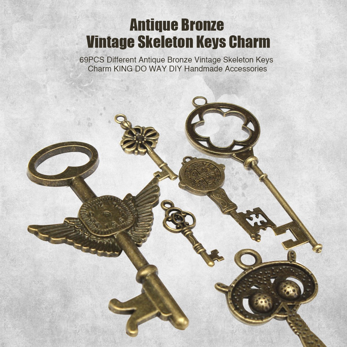 KING DO WAY 80pcs Antique Bronze Vintage Skeleton Keys Charm Set DIY Handmade Accessories Necklace Pendants Jewelry Making Supplies for Wedding Decoration Birthday and Christmas Party