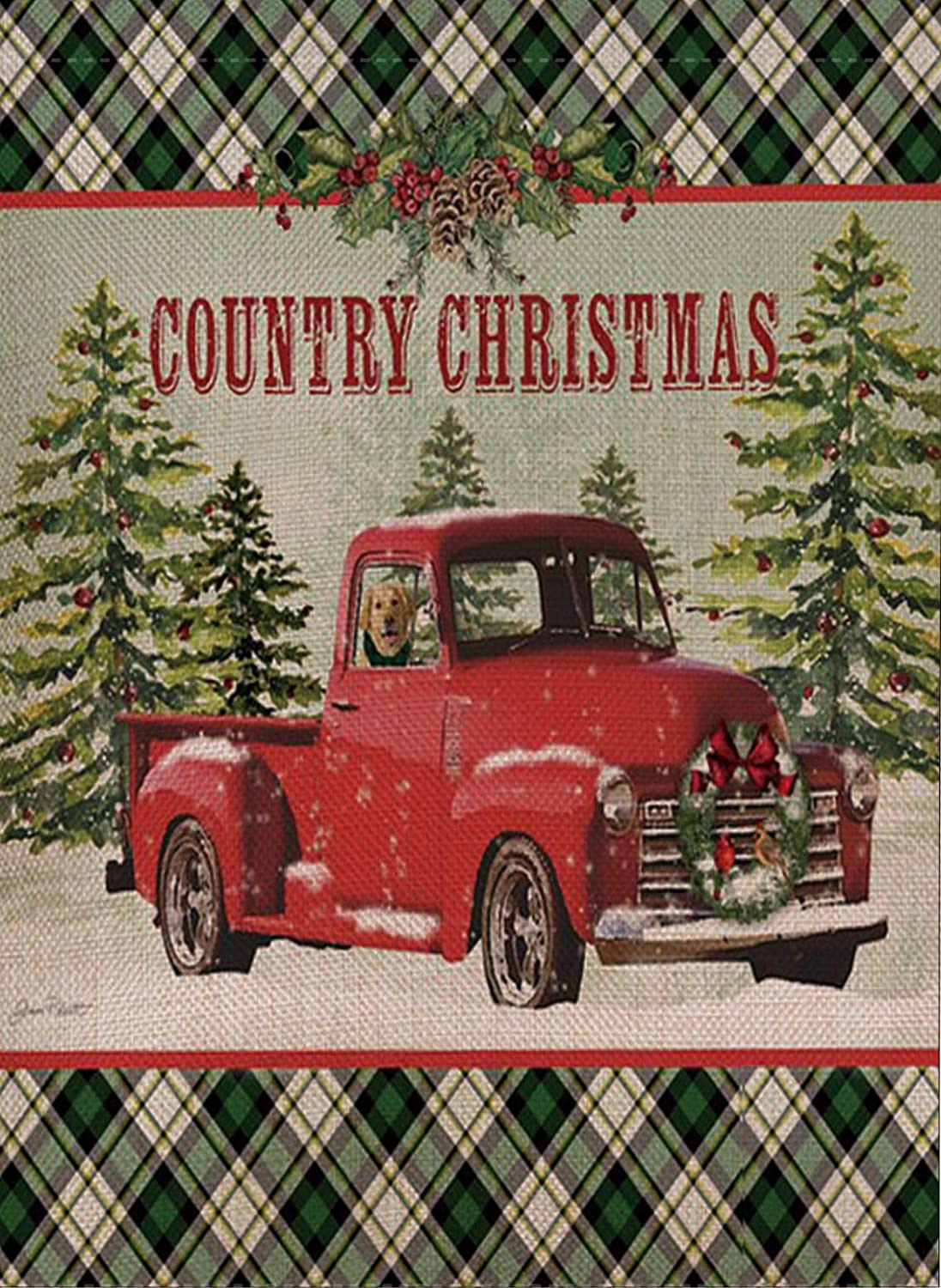 Selmad Home Decorative Country Christmas Garden Flag Red Truck Double Sided, Rustic Xmas Quote House Yard Flag Pickup, Winter Holiday Farmhouse Garden Decorations, Plaid Seasonal Outdoor Flag 12 x 18