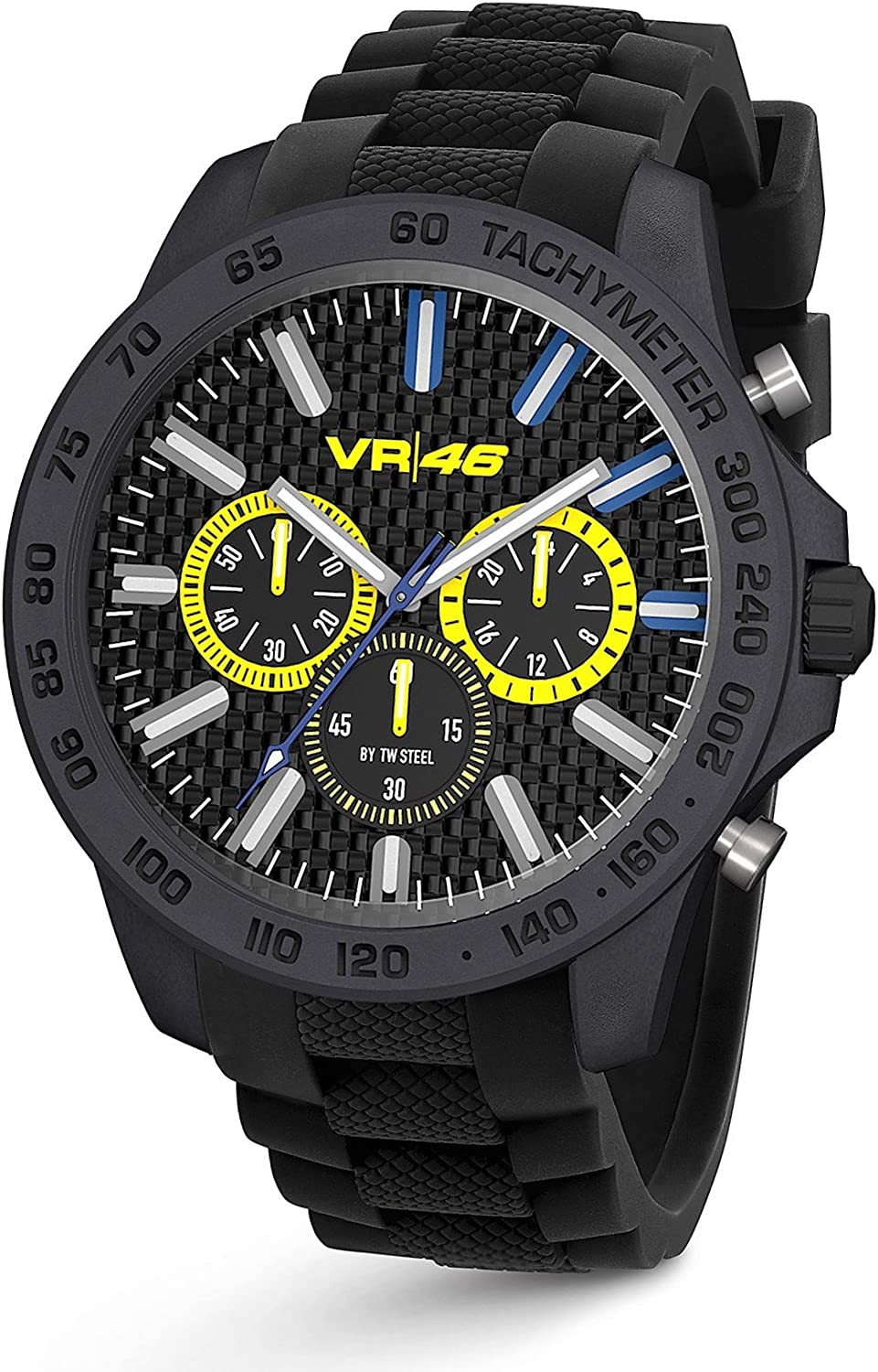 TW Steel VR46 Yamaha Valentino Rossi the Doctor Men s Ultra Light Carbon Motorcycle Racing Chronograph Watch VR114 Black Silicone Strap Analog Sport Wrist Watches