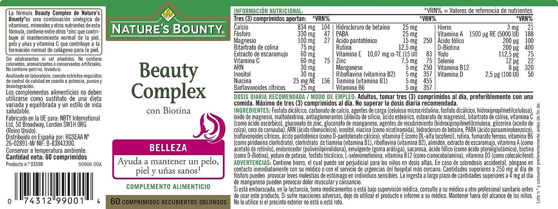 Natures Bounty Beauty Complex con Biotina - 60 Comprimidos: Amazon.es: Salud y cuidado personal
