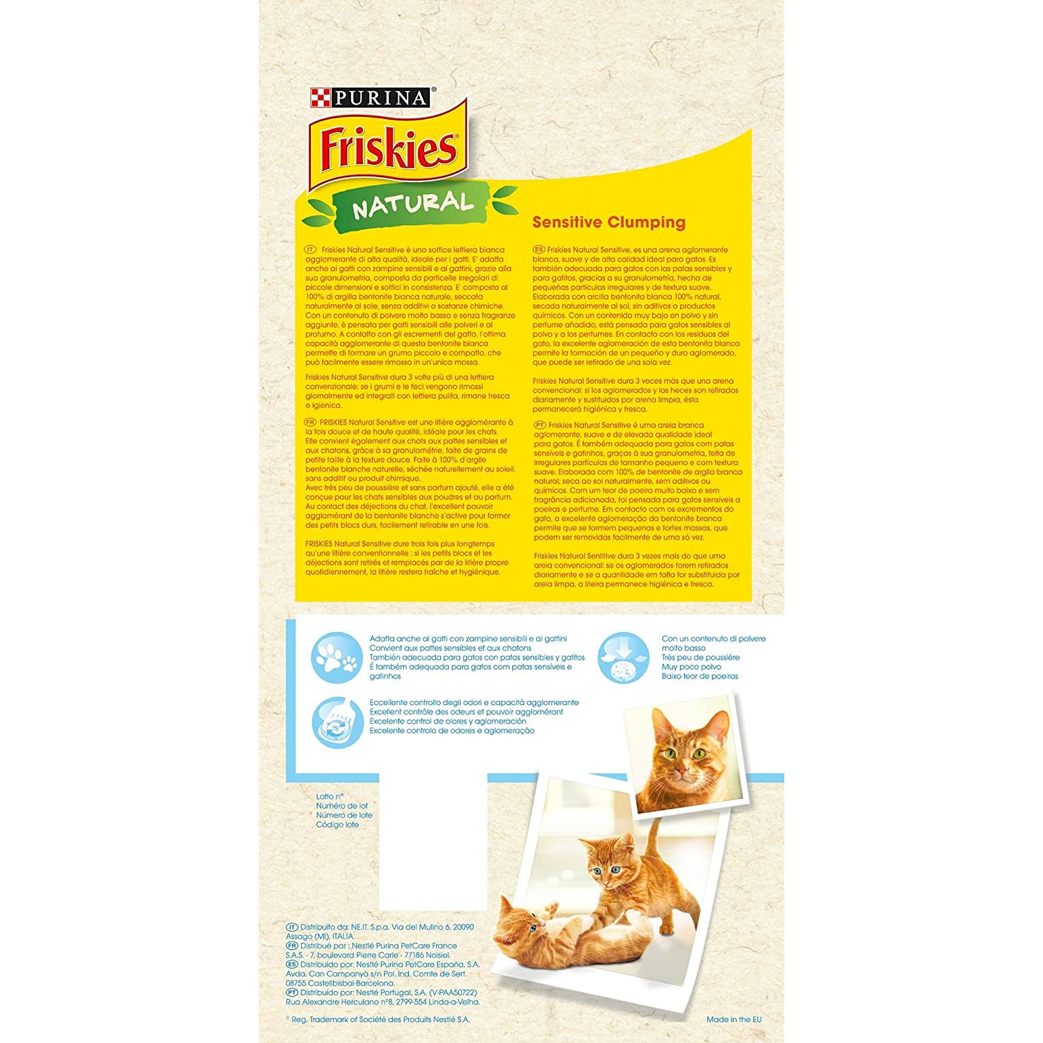 Purina Friskies Natural Sensitive Arena para gatos 4 x 5 Kg ...