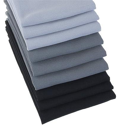 Paños Set 9 unidades de 100% algodón aspecto de lino en Uni Antracita, Gris
