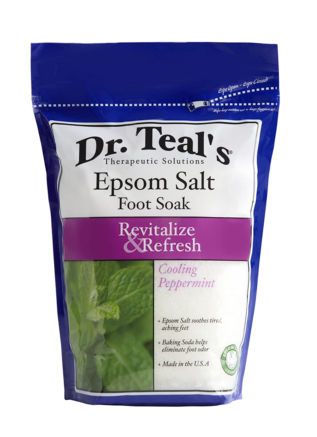 Dr. Teal's Epsom Salt Foot Soak, Cooling Peppermint, 32 Ounce Advanced Beauty Systems NA