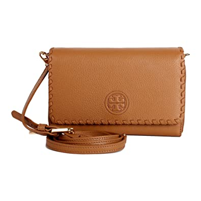 ede5fa7c5af3 Amazon.com  NWT Tory Burch Marion Flat Wallet Crossbody Bark Brown Combo  Clutch Shoulder Bag  Shoes