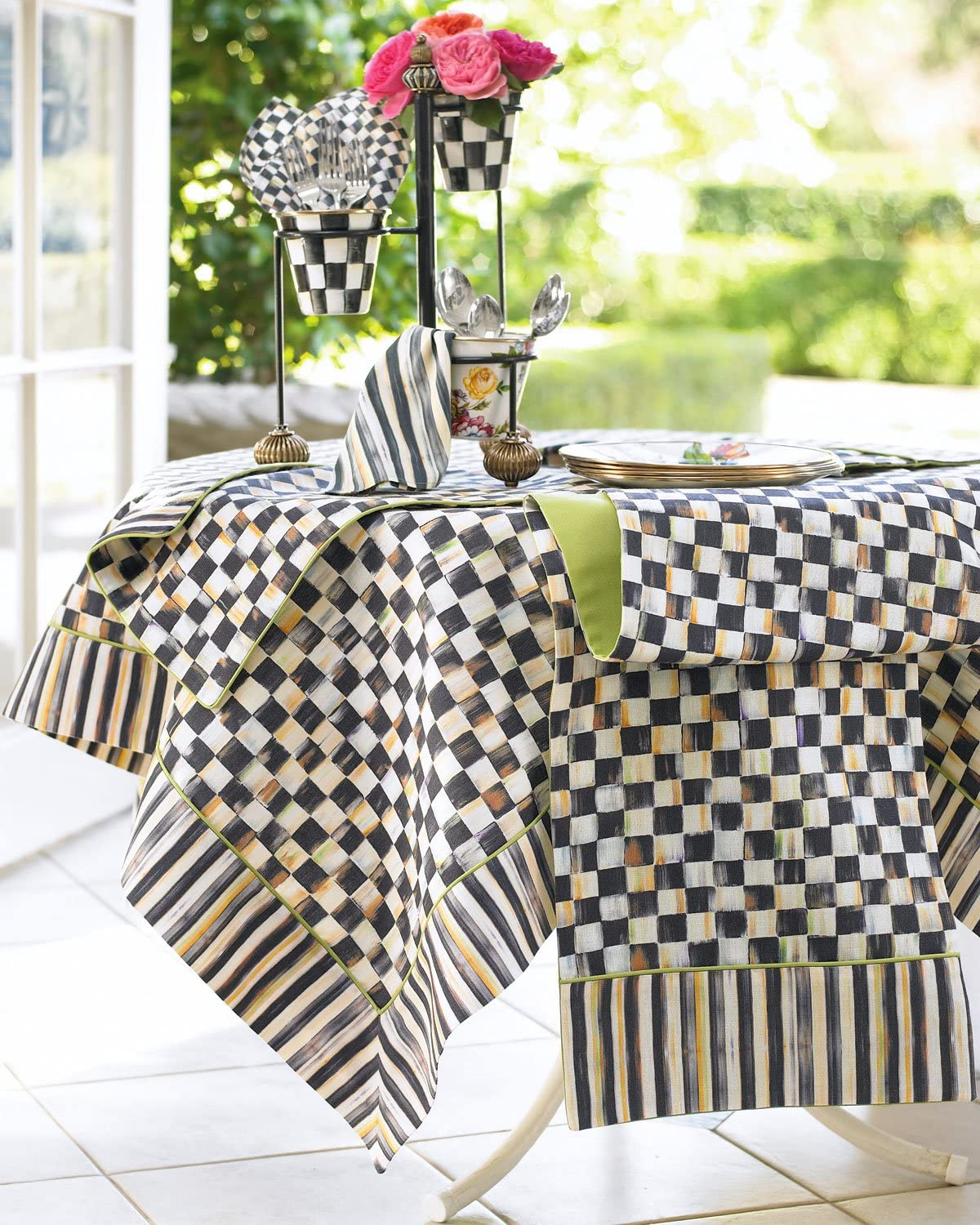 """Mackenzie Childs COURTLY CHECK 100/% Linen TABLE RUNNER 72/""""x14/"""" m20-au Black"""