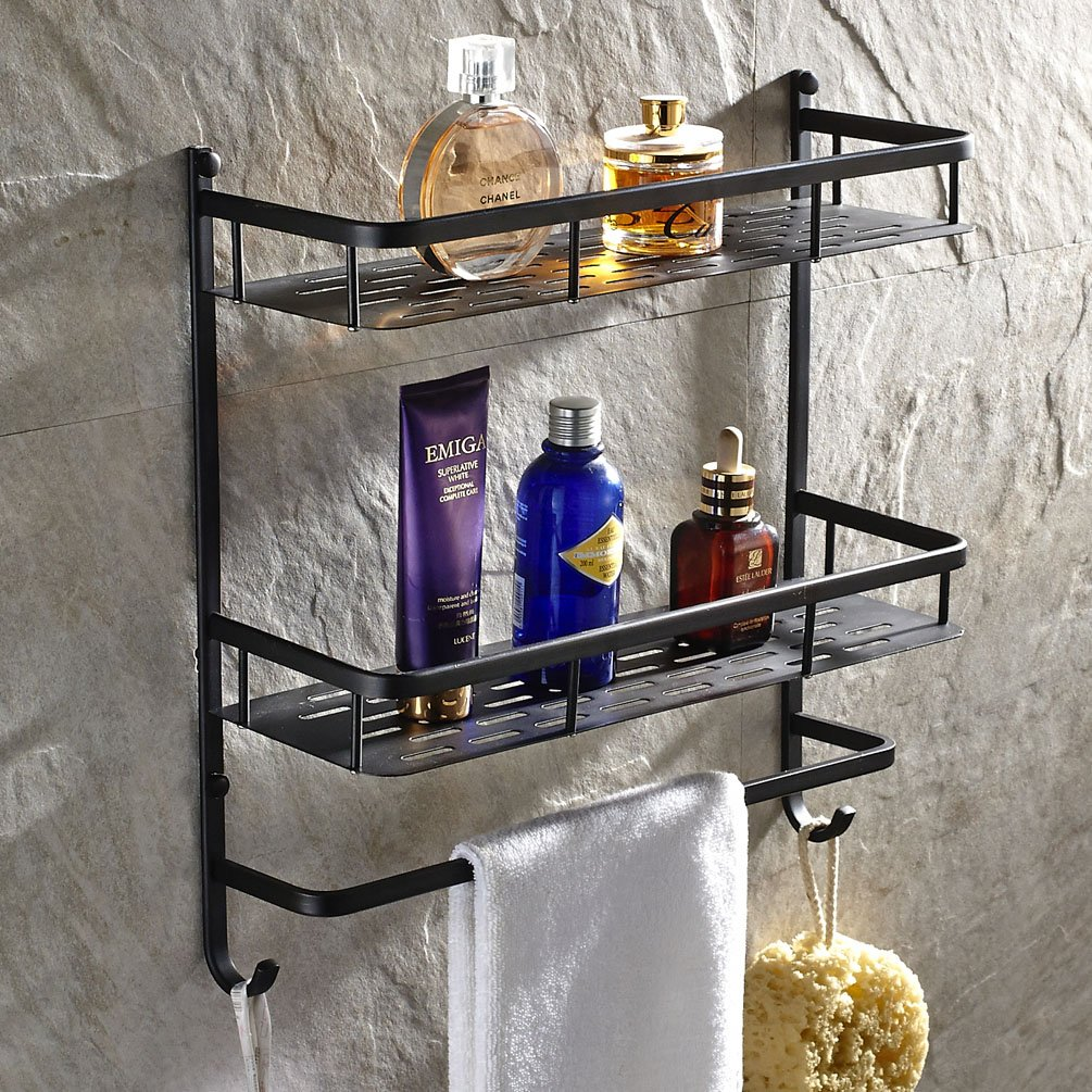 Luxury Wall Mounted Two Layer Shower Caddy with Double Towel Hooks and Towel Bar Track Oil Rubbed Bronze Finish Solid Brass Shower Wire Basket