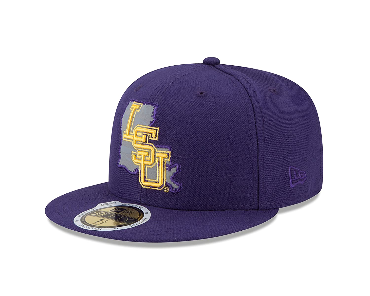 big sale 58c1b 6bf4a Amazon.com   New Era NCAA LSU Tigers State Flective Redux 59FIFTY Fitted  Cap, 7.5, Purple   Sports   Outdoors