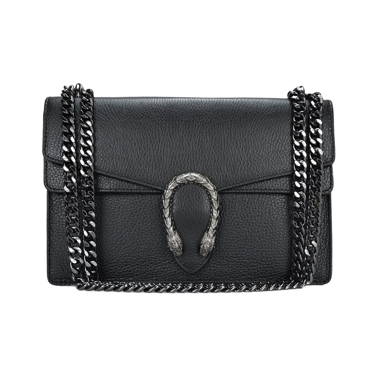 Italian cross body chain bag, designer evening purse, shoulder bag, handbag, flap bag, suede genuine leather (Medium, Pebbled black)