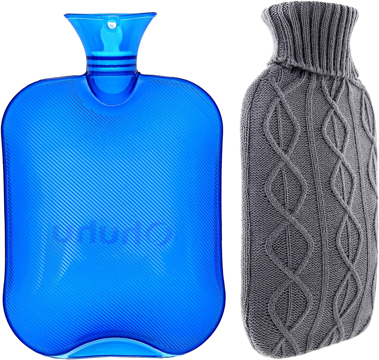 Hot Water Bottle with Cover, Ohuhu 2L Classic Premium Transparent Hot or Cold Water Bag with Knit Cover for Pain Relief Hot Pack Therapy 2000ml 68oz, Blue, Home and Outdoor
