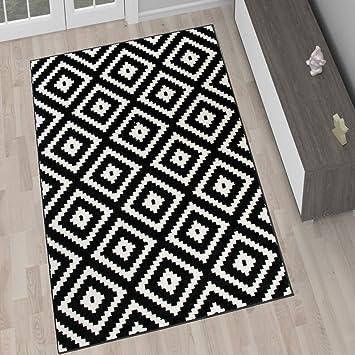 tapis de salon moderne collection marocaine couleur noir blanc motif gomtrique treillis meilleure qualit diffrentes dimensions s xxxl 160 x 220 - Tapis Noir Et Blanc