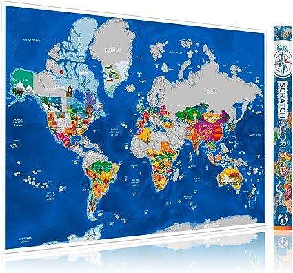 ENFY Mapa del Mundo para Rascar de Viajes - Grande Póster de Pared con Ilustraciones Artísticas Hechas