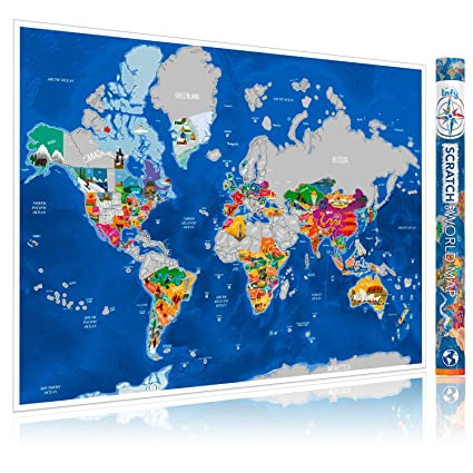 Amazon enfy scratch off world map poster with illustrations enfy scratch off world map poster with illustrations scratch off poster travel map of the gumiabroncs Choice Image