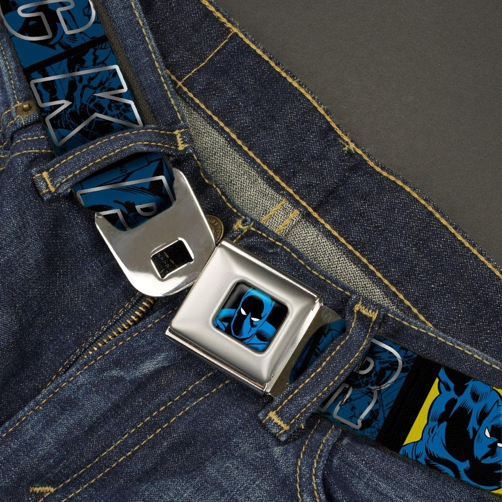 Buckle-Down Mens Seatbelt Belt XL 1.5 Wide-32-52 Inches Panther Comic Blocks//Pose Blue//Black//Silver