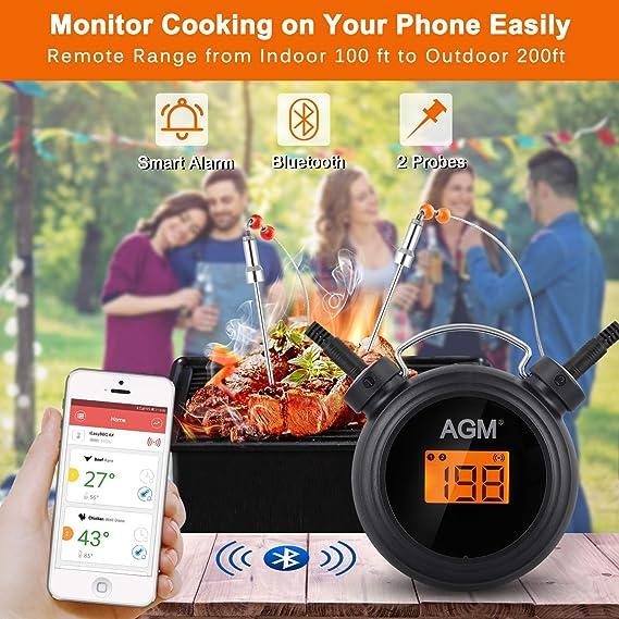 AGM Termómetro de Barbacoa, Termómetro Digital inalámbrico Bluetooth para Cocina con Control Remoto, Sondas de Acero Inoxidable y Alarma para Carne, ...