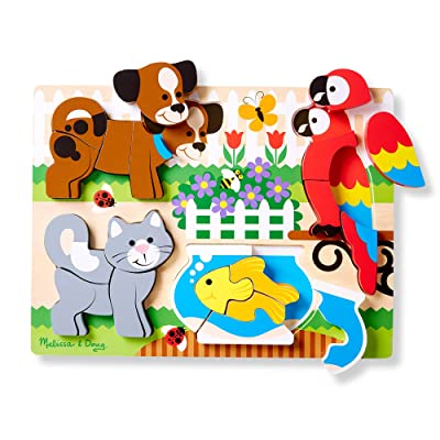 Melissa & Doug Pets Wooden Chunky Jigsaw Puzzle - Dog, Cat, Bird, and Fish (20 pcs): Game: Toys & Games
