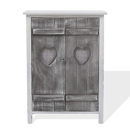 Rebecca Mobili Credenza shabby chic, dispensa di legno, 2 ante, bianco  grigio, cucina bagno - Misure: 78 x 51 x 31 cm (HxLxP) - Art. RE4563