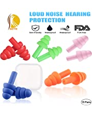 SETH – 15 Pairs –5 Colours - NRR32 - Noise Cancelling Waterproof and Hypoallergenic Ear Plugs for Sleeping, Silicone Reusable Noise Reduction Earplugs for Hearing Protection from Snoring, Swimming, Shooting, Hunting, Working, Travel, Concerts and Airplanes
