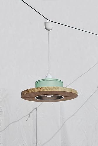☆ Lámpara de techo hecha a mano ☆ en color mint + madera ...