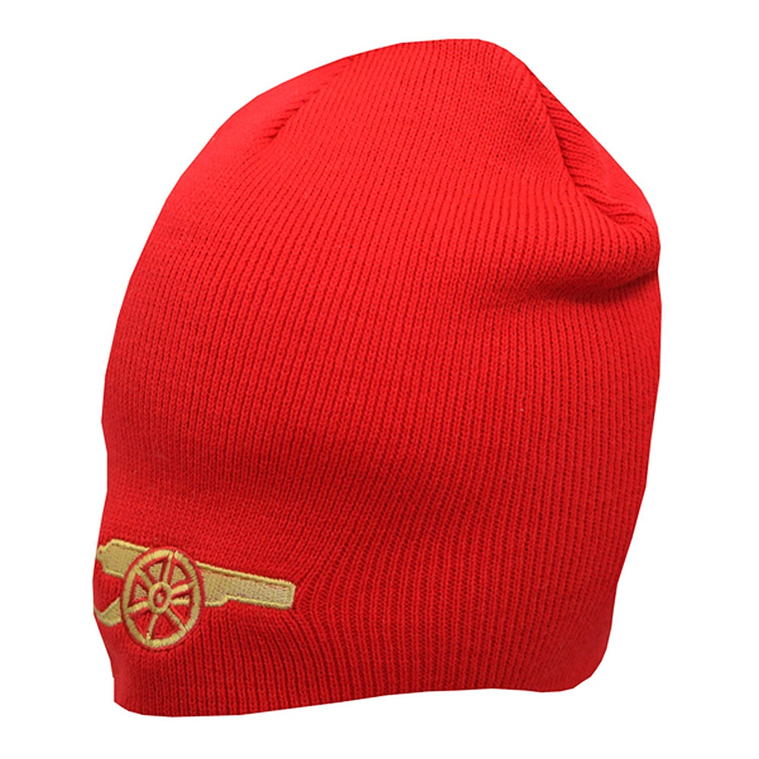 6a66333a547 Amazon.com  Arsenal FC Official Gunners Design Knitted Beanie Hat (One  Size) (Red)  Clothing