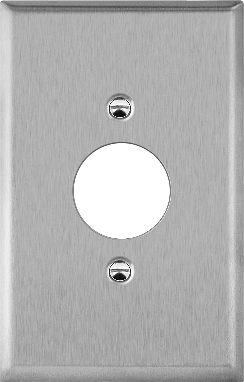 "ENERLITES 1.406"" Hole Single Receptacle Outlet Metal Wall Plate, Corrosive Resistant, Over Size 1-Gang 5.5"" x 3.5"", 7751O, 430 Stainless Steel, UL Listed, Silver"