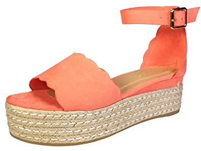 497a62d979f6 BAMBOO Women s Scallop Edged Single Band Espadrilles Platform Sandal with  Ankle Strap