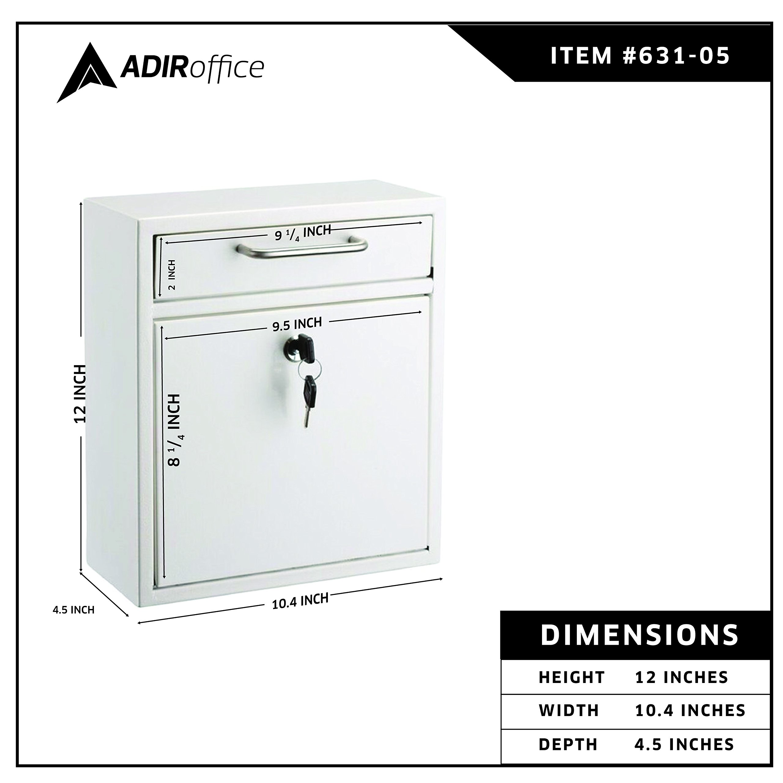 AdirOffice Locking Drop Box - Wall Mounted Mailbox - (Medium, Blue) by Adir Corp. (Image #4)