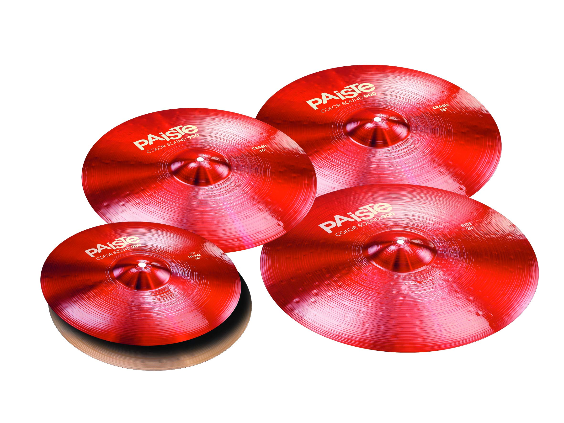 Paiste Color Sound 900 Series Medium Cymbal Set Extended Even w/Free 16'' Crash (Red) by Paiste