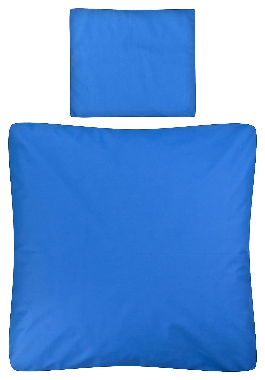 Aminata Kids – Babybettwäsche á 80x80 cm Kinder Jungen Unifarben Blau Baumwolle + Reißverschluss Wiegenbettwäsche Einfarbig Dunkelblau Royalbau Bettbezug Stubenwagen Kinderwagenbettwäsche