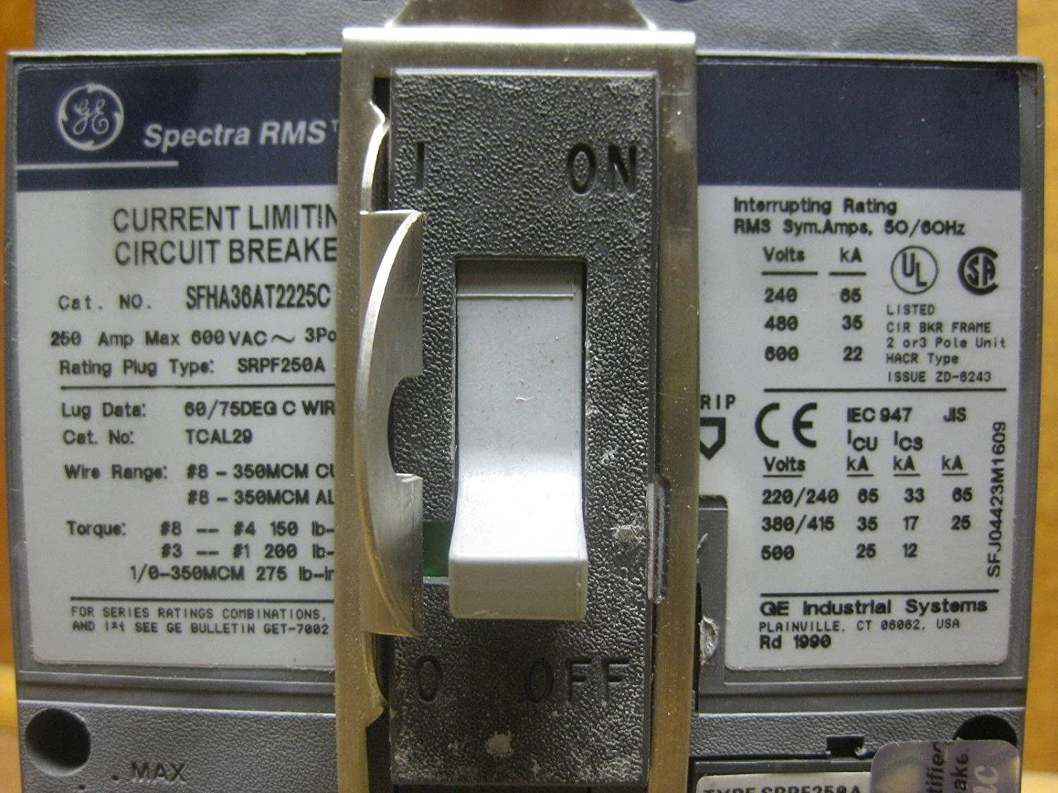 Ge General Electric Sfha36at2225c 250a Spectra Circuit Breaker W 4 Wire Schematic Diagram 480 Volt 225 Amp Plug Industrial Scientific