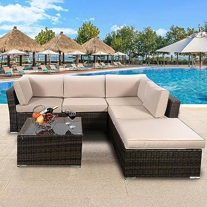 TANGKULA 4 Piece Furniture Set Patio Outdoor Deck Lawn Backyard Durable  Steel Frame PE Rattan Wicker
