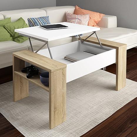 HomeSouth - Mesa de Centro elevable, mesita Comedor Salon Modelo Andrea, Color Blanco y Cambria, Medidas: 98,4 x 42,6 x 50,2 cm de Fondo.