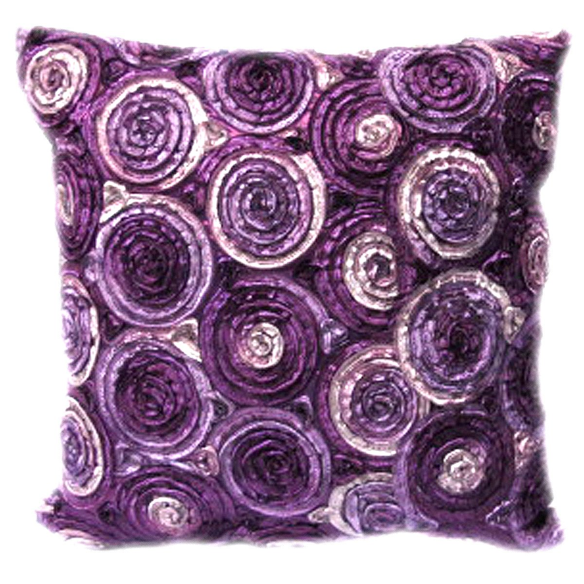(Single) Two Tone 3d Bouquet of Purple Roses Throw Cushion Cover/pillow Sham Handmade By Satin and Thai Silk for Decorative Sofa, Car and Living Room Size 16 X 16 Inches