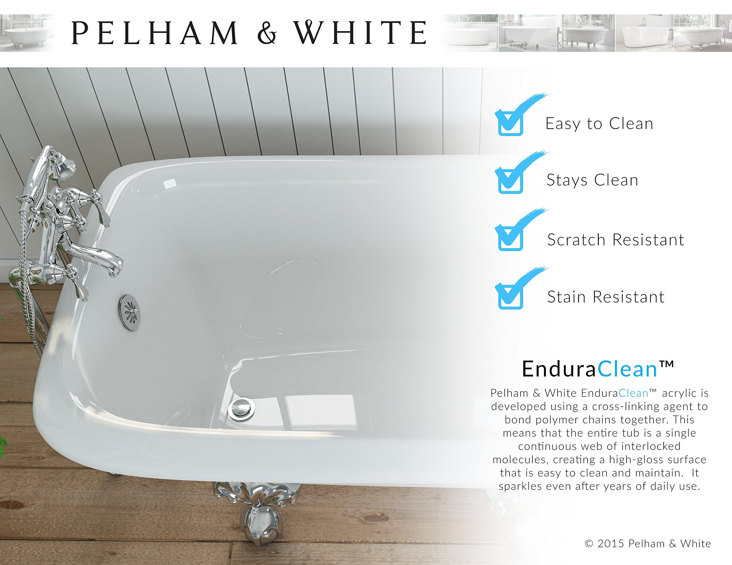 Luxury 60 inch Modern Clawfoot Tub in White with Stand-Alone Freestanding Tub Design, Includes Modern Brushed Nickel Cannonball Feet and Drain, From The Brookdale Collection by Pelham & White (Image #8)