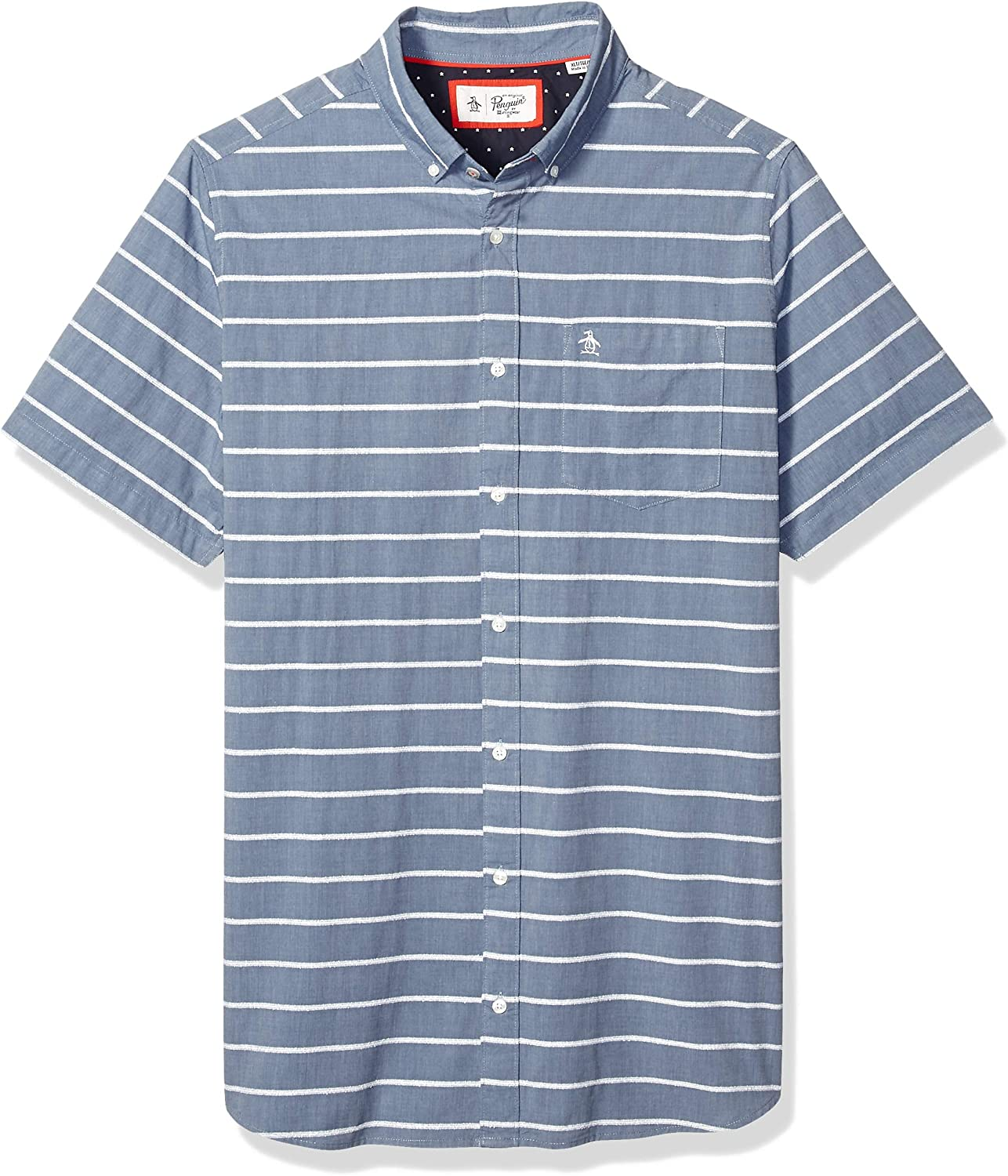 Original Penguin Mens Big and Tall Short Sleeve Stripe Button Down Shirt