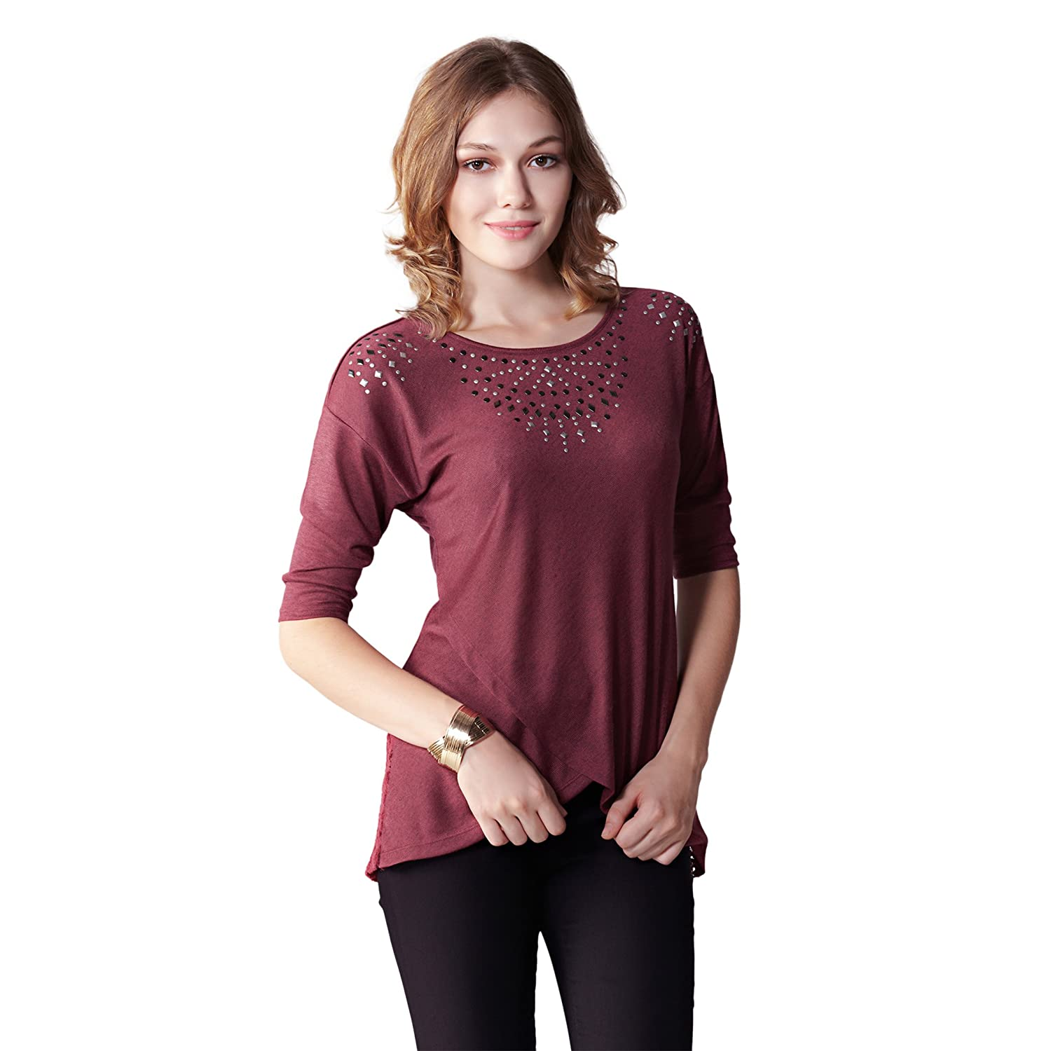 f81240e1003ae3 OneWorld Half Sleeve Round Neck Asymmetric Wrap Hem Casual Tee Shirt Top  with Sequins for Ladies and Women at Amazon Women s Clothing store