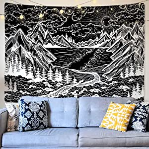 Black and White Tapestry Wall Hanging, Mountain Sun Tree Forest Ocean Wave Nature Landscape Art Tapestries, Cool Black Wall Tapestry for Bedroom College Dorm Living Room Aesthetic Wall Decor, 59 x 78.7 inches