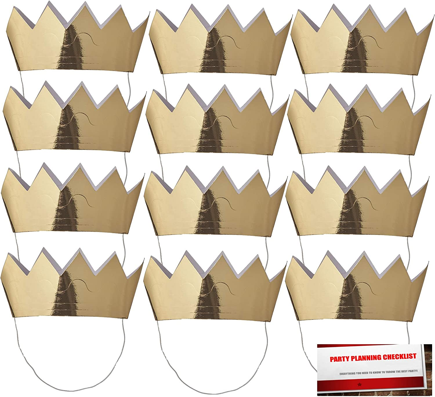 Paper Art Mini Crowns 12 - Gold with Elastic Strap