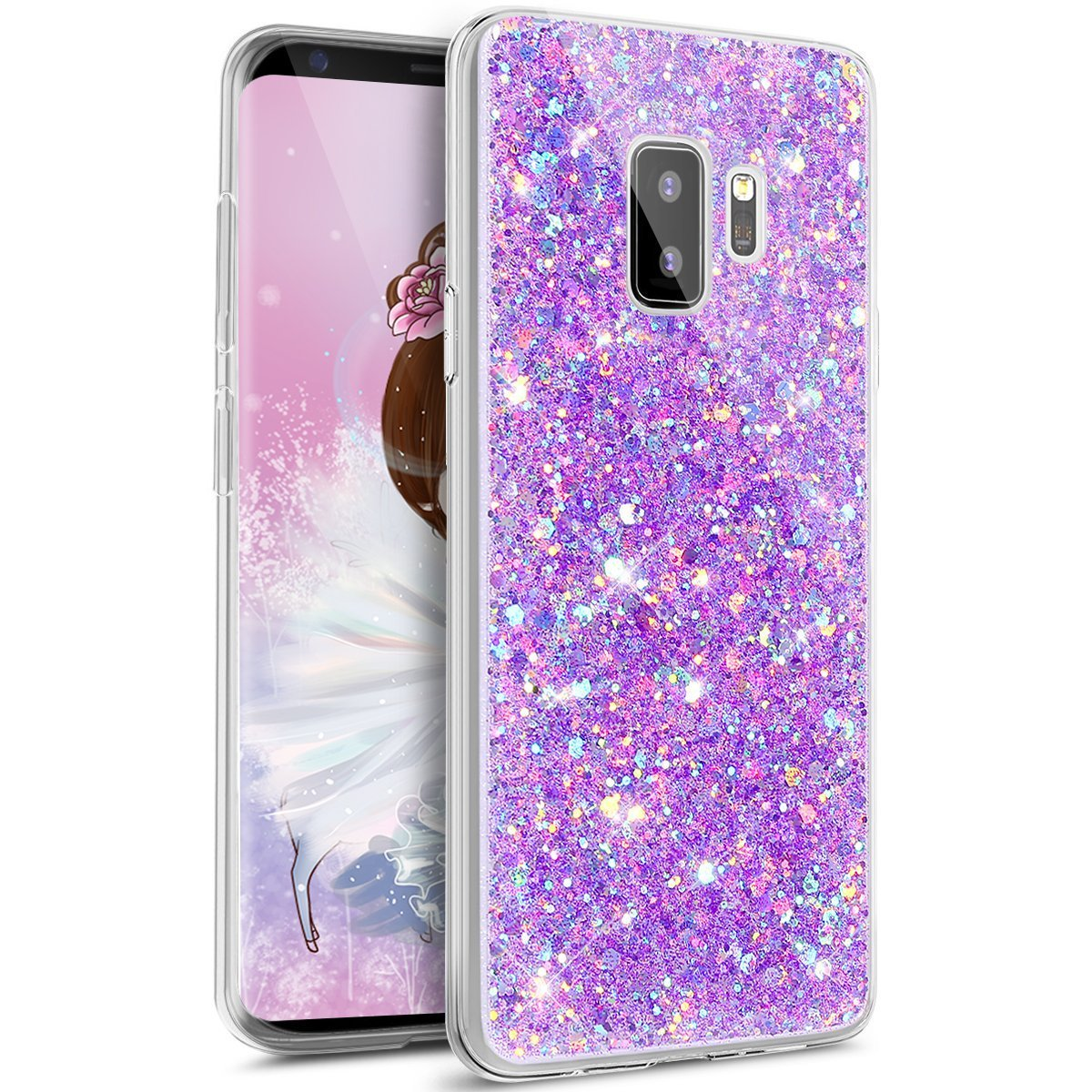 Cover Glitter Galaxy S9 Plus,Custodia Glitter Samsung Galaxy S9 Plus, Ysimee Brilla Bling Custodia morbido trasparente scintillante in TPU Custodia protettiva antipioggia sottile in silicone antiurto per Samsung Galaxy S9 Plus -verde