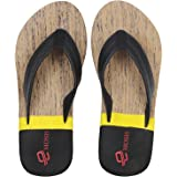 Emosis Men's Stylish 273 Tan Brown Black Colour Casual Daily Use Rubber Unisex Slipper and Flip-Flop