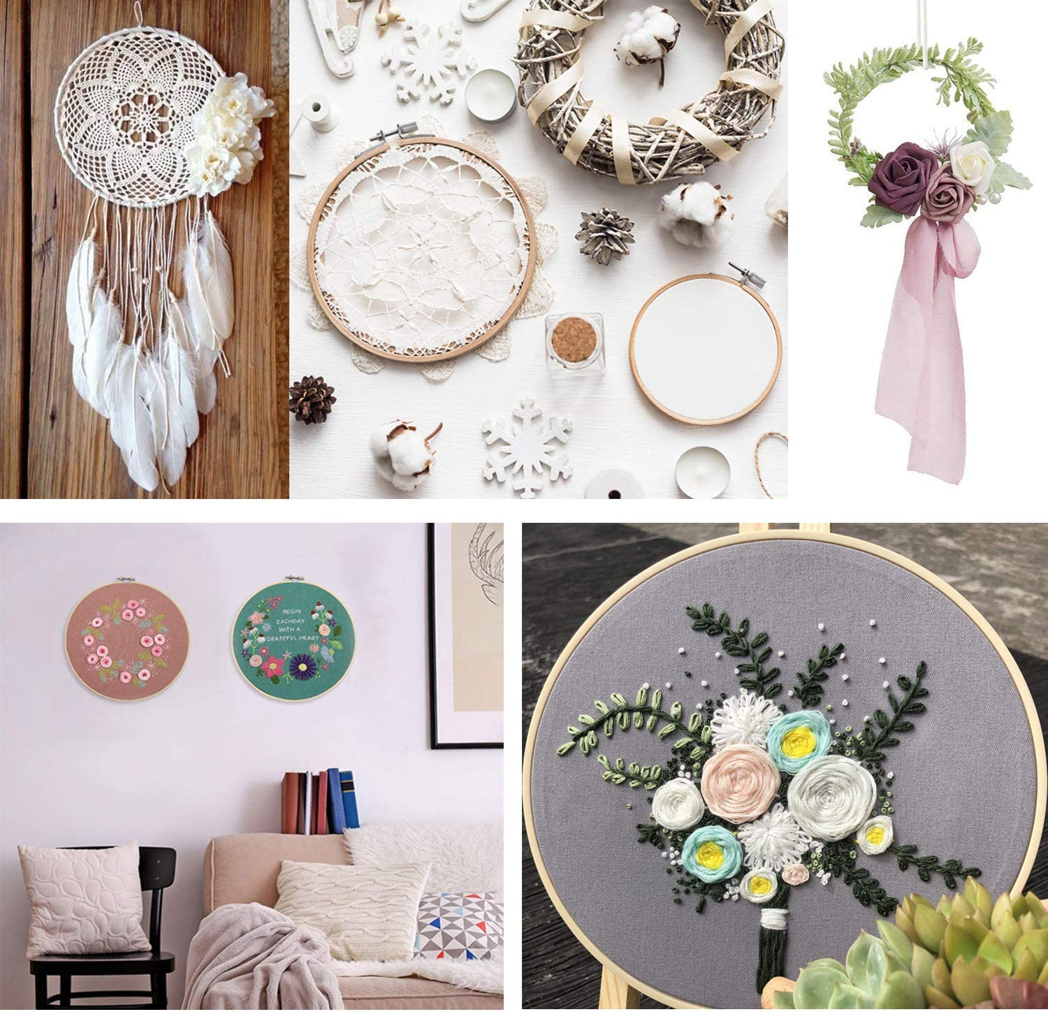 6 PCS Christmas Embroidery Hoop Set Bamboo Circle Cross Stitch Hoop Ring 5 inch to 10 inch for Embroidery Cross Stitch Craft Sewing