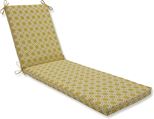 Pillow Perfect Outdoor Indoor Rossmere Sunshine Chaise Lounge Cushion, 80 in. L X 23 in. W X 3 in. D, Yellow