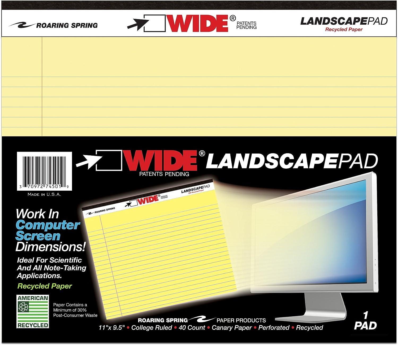 Roaring Spring productos de papel de ancho paisaje pad Canarias 11/x 9,5/cm con forro de 40/hojas 74501