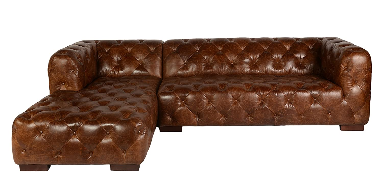 Lazzaro Leather WH-1302-22-33-9021 Manhatton Collection Leather RSF Loveseat with LSF Chaise - Cocoa Brompton