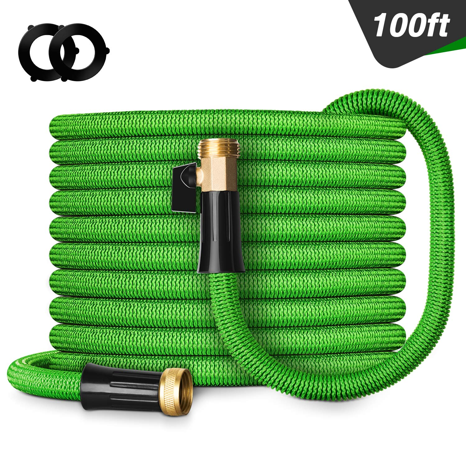 """Besiter Expandable Garden Hose, 100FT Lightweight and Kink Free Flexible Water Hose with 3/4"""" Heavy Duty Brass Connectors & Shut Off Valve Green"""