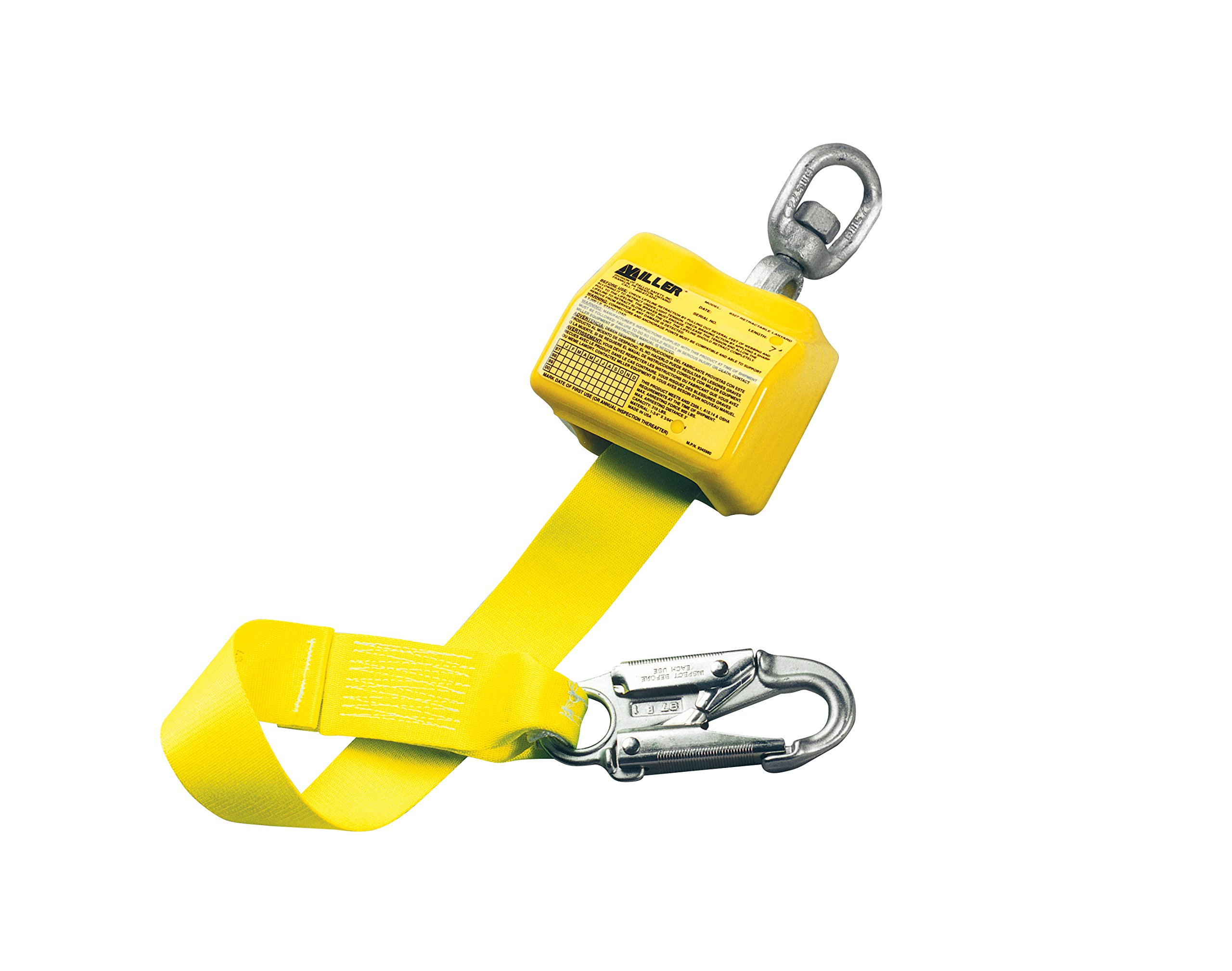 Miller by Honeywell 8327/10FTYL Retractable Lanyard with Carabiner, 10', Yellow