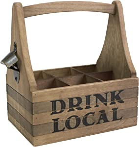 Stonebriar Wooden Drink Local Beer Caddy with Handle and Metal Bottle Opener, Large, Brown