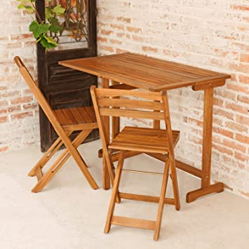 Juego de muebles de jardín Bali 100 1 mesa 100 X60 cm y 2 sillas ...