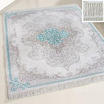 Amazon De Mynes Home Teppich Waschbar Turkis Mit Medaillon Muster